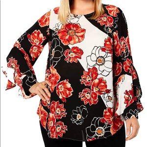 Alfani Plus Sheer Floral ruffle sleeve Blouse